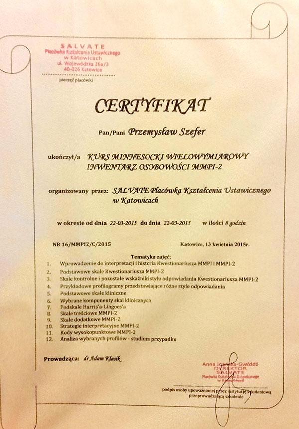Certyfikat Przemysław Szefer